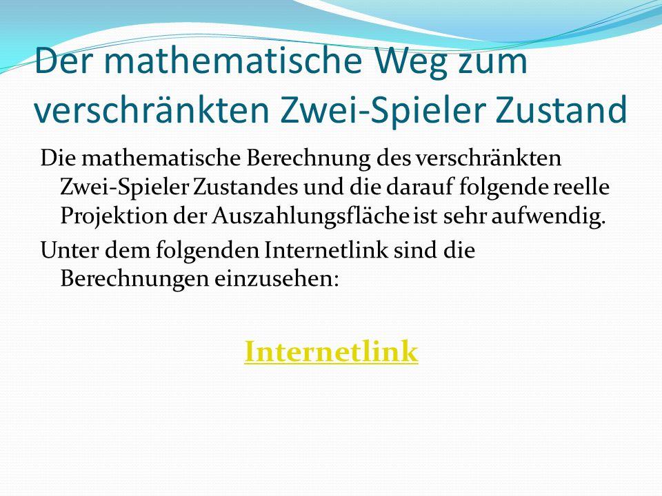 Der mathematische Weg zum verschränkten Zwei-Spieler Zustand Die mathematische Berechnung des verschränkten Zwei-Spieler Zustandes und die darauf folgende reelle Projektion der Auszahlungsfläche ist sehr aufwendig.