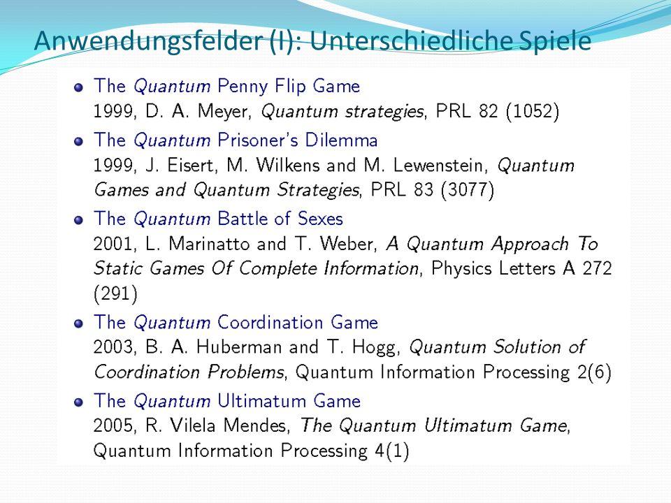 Anwendungsfelder (I): Unterschiedliche Spiele