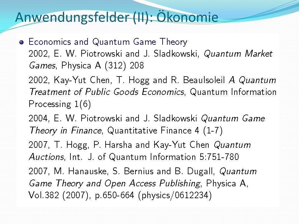 Anwendungsfelder (II): Ökonomie