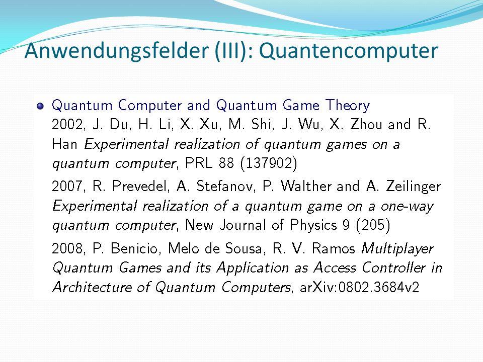 Anwendungsfelder (III): Quantencomputer