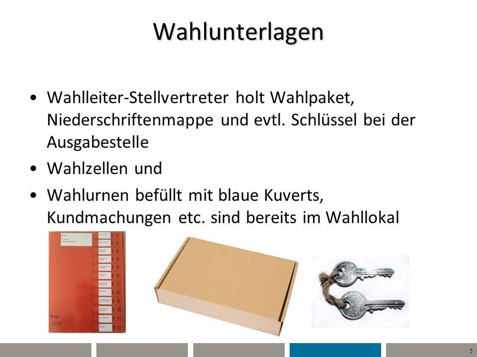 5 Wahlunterlagen Wahlleiter-Stellvertreter holt Wahlpaket, Niederschriftenmappe und evtl.