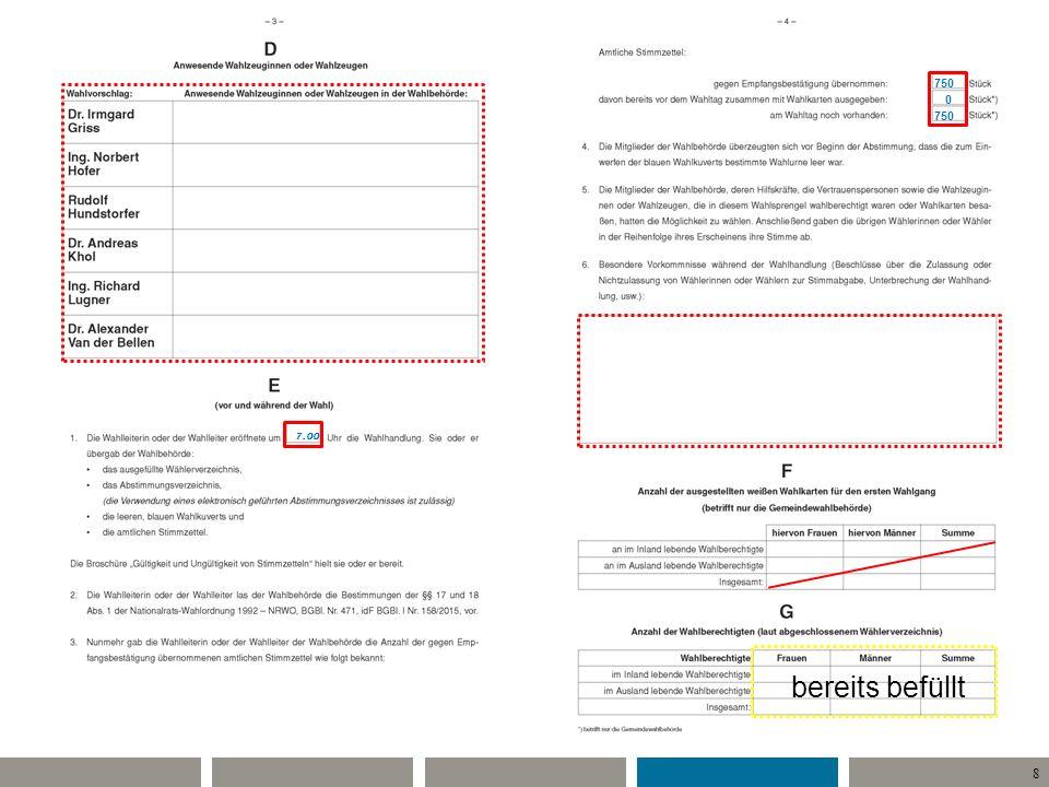 9 Während der Wahlzeit 7 - 16: –Identitätsprüfung (Ausnahme) –Suche im Wählerverzeichnis –Ausgabe blaues Kuvert und Stimmzettel