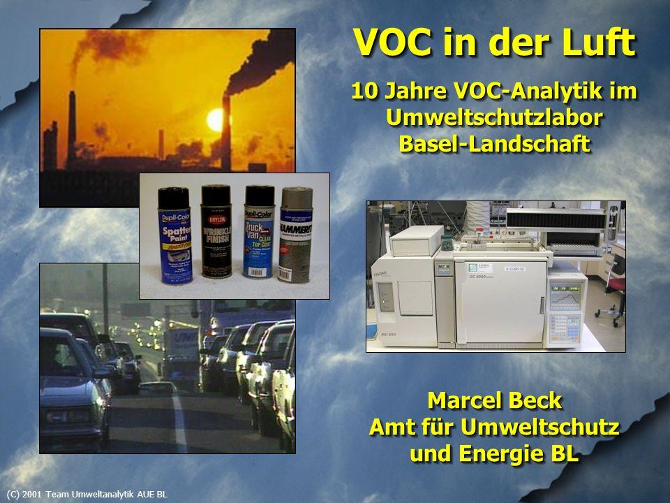 (C) 2001 Team Umweltanalytik AUE BL VOC in der Luft 10 Jahre VOC-Analytik im Umweltschutzlabor Basel-Landschaft VOC in der Luft 10 Jahre VOC-Analytik