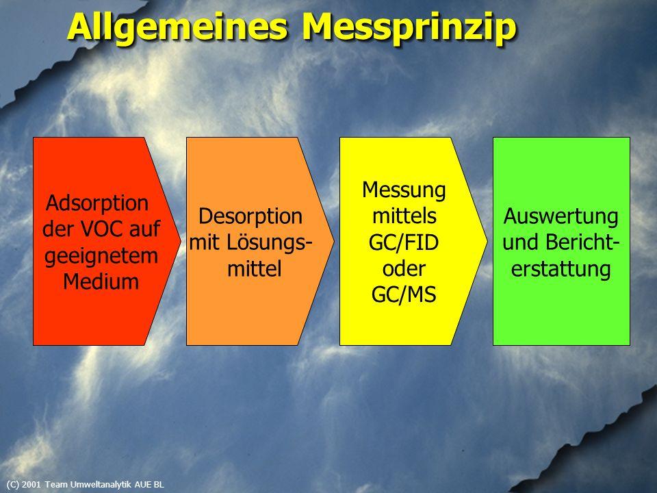 (C) 2001 Team Umweltanalytik AUE BL Allgemeines Messprinzip Adsorption der VOC auf geeignetem Medium Desorption mit Lösungs- mittel Messung mittels GC/FID oder GC/MS Auswertung und Bericht- erstattung