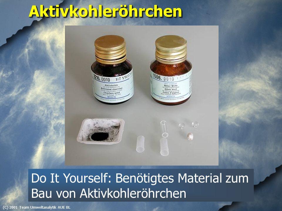 (C) 2001 Team Umweltanalytik AUE BLAktivkohleröhrchenAktivkohleröhrchen Do It Yourself: Benötigtes Material zum Bau von Aktivkohleröhrchen