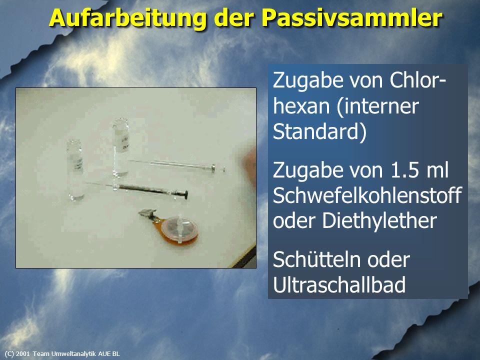 (C) 2001 Team Umweltanalytik AUE BL Aufarbeitung der Passivsammler Zugabe von Chlor- hexan (interner Standard) Zugabe von 1.5 ml Schwefelkohlenstoff oder Diethylether Schütteln oder Ultraschallbad