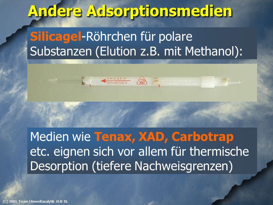 (C) 2001 Team Umweltanalytik AUE BL Andere Adsorptionsmedien Medien wie Tenax, XAD, Carbotrap etc. eignen sich vor allem für thermische Desorption (ti