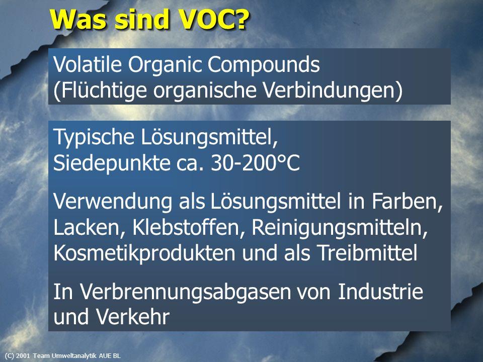 (C) 2001 Team Umweltanalytik AUE BL Beispiele untersuchter VOC Aromaten Pseudocumol CKW Perchlorethen Ester Ethylacetat Ketone Butanon Alkane Isooctan Terpene alpha-Pinen