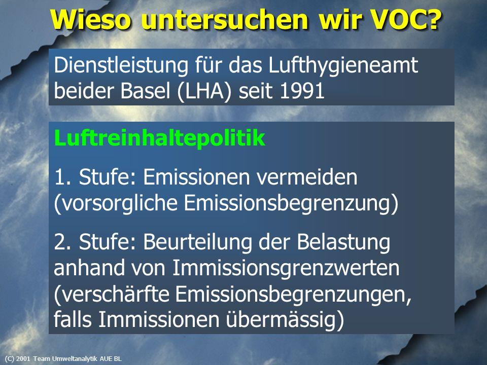 (C) 2001 Team Umweltanalytik AUE BL VOC Immission Ozonbildung (Sommersmog) Erfolgskontrolle Luftreinhalte- Massnahmen Karzinogene Substanzen (Benzol) Bestandesaufnahme Luftbelastung