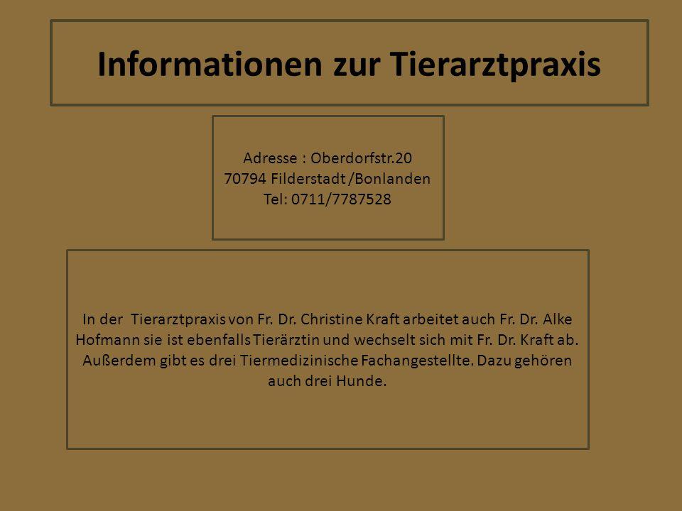 Informationen zur Tierarztpraxis Adresse : Oberdorfstr.20 70794 Filderstadt /Bonlanden Tel: 0711/7787528 In der Tierarztpraxis von Fr. Dr. Christine K