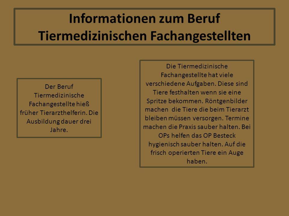 Informationen zum Beruf Tiermedizinischen Fachangestellten Der Beruf Tiermedizinische Fachangestellte hieß früher Tierarzthelferin.
