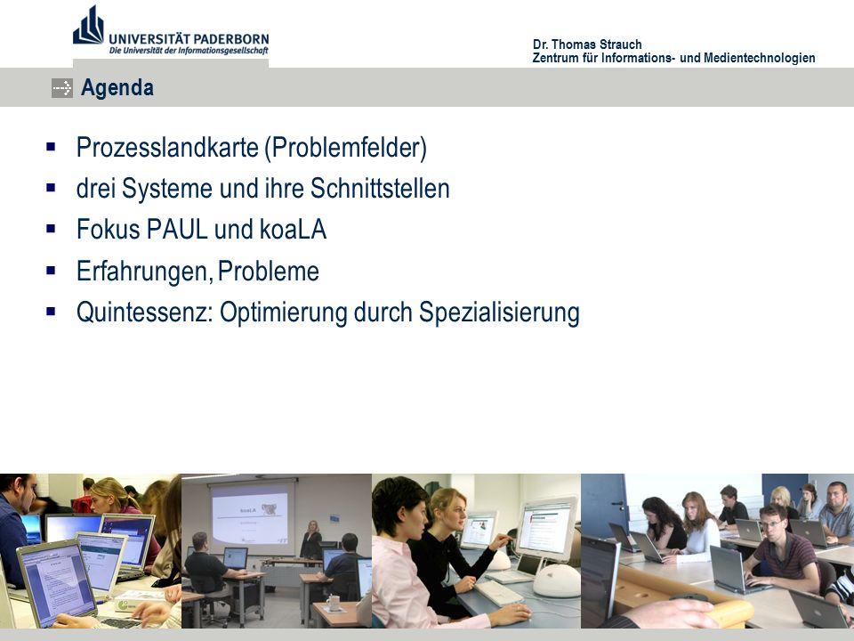 Zentrum für Informations- und Medientechnologien Agenda  Prozesslandkarte (Problemfelder)  drei Systeme und ihre Schnittstellen  Fokus PAUL und koaLA  Erfahrungen, Probleme  Quintessenz: Optimierung durch Spezialisierung