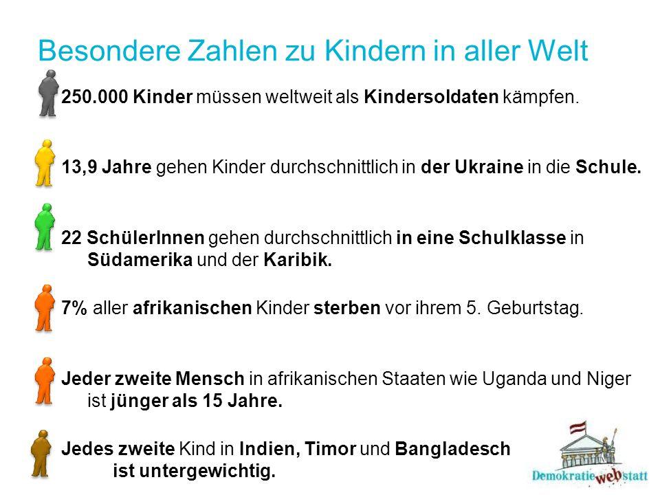 Besondere Zahlen zu Kindern in aller Welt 250.000 Kinder müssen weltweit als Kindersoldaten kämpfen.