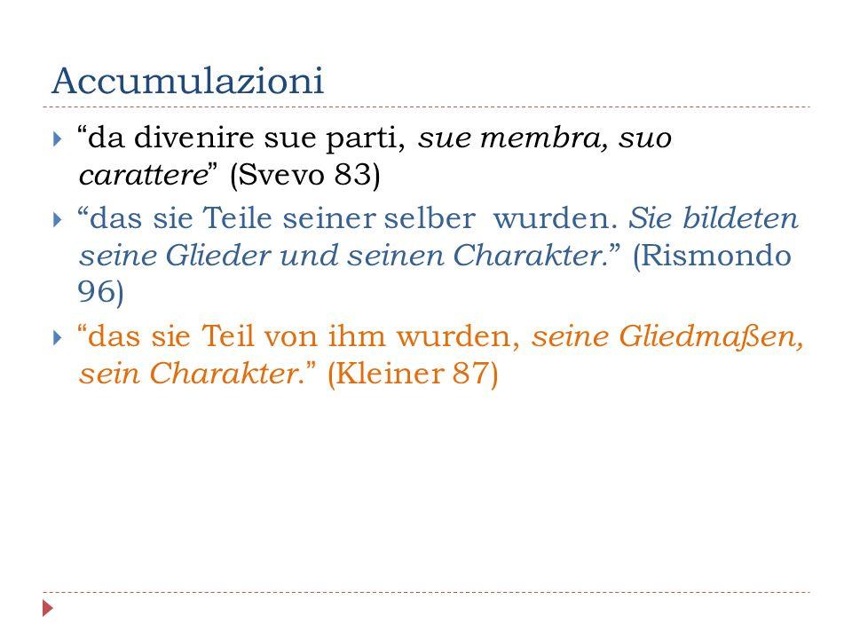 Accumulazioni  da divenire sue parti, sue membra, suo carattere (Svevo 83)  das sie Teile seiner selber wurden.