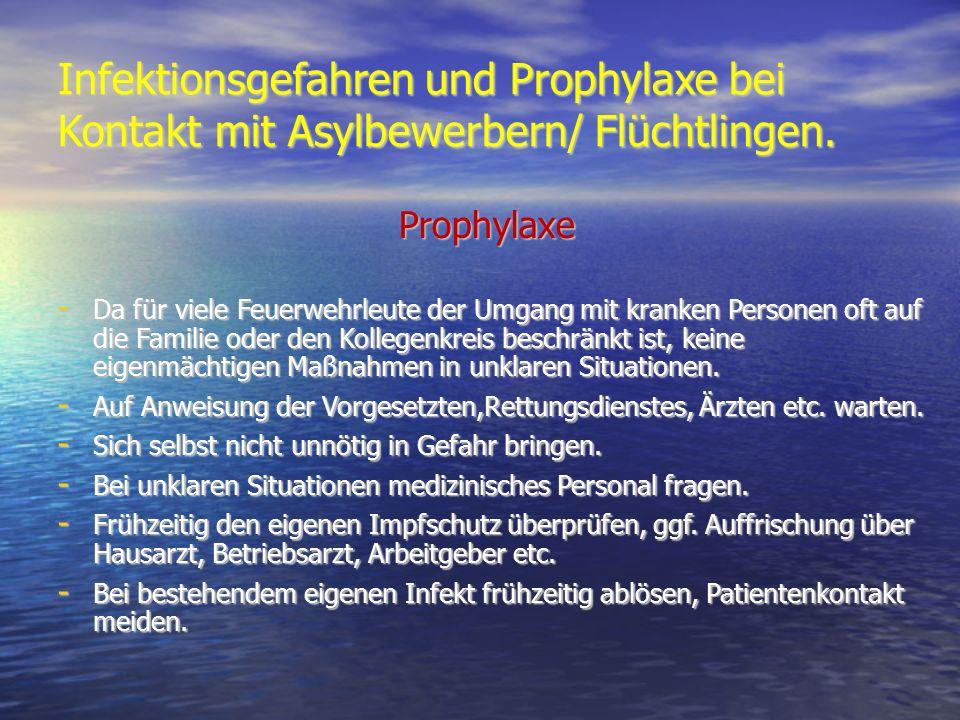 Infektionsgefahren und Prophylaxe bei Kontakt mit Asylbewerbern/ Flüchtlingen. Prophylaxe Prophylaxe - Da für viele Feuerwehrleute der Umgang mit kran