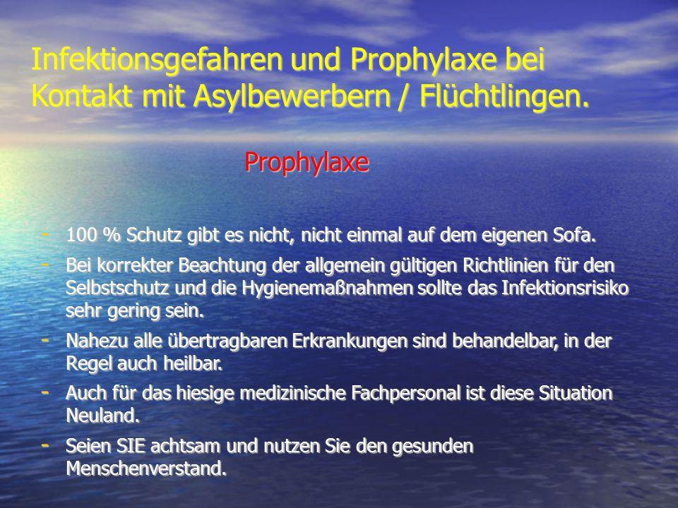 Infektionsgefahren und Prophylaxe bei Kontakt mit Asylbewerbern / Flüchtlingen. Prophylaxe - 100 % Schutz gibt es nicht, nicht einmal auf dem eigenen