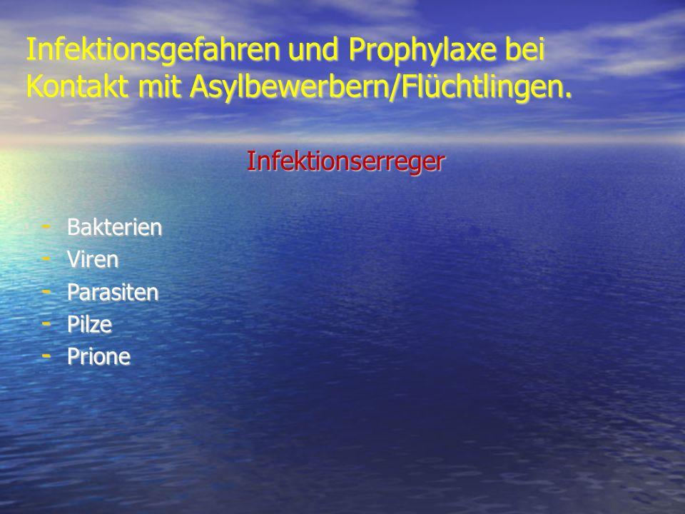 Infektionsgefahren und Prophylaxe bei Kontakt mit Asylbewerbern/Flüchtlingen. Infektionserreger - Bakterien - Viren - Parasiten - Pilze - Prione