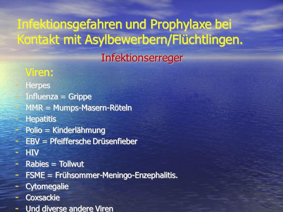 Infektionsgefahren und Prophylaxe bei Kontakt mit Asylbewerbern/Flüchtlingen. Infektionserreger Infektionserreger Viren: Viren: - Herpes - Influenza =
