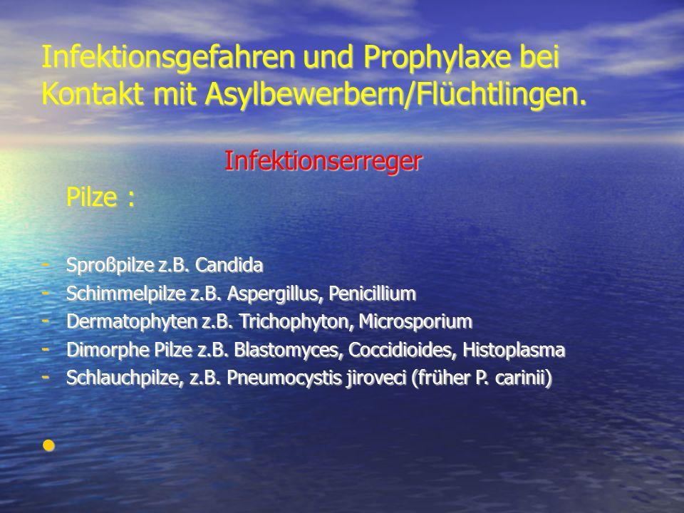 Infektionsgefahren und Prophylaxe bei Kontakt mit Asylbewerbern/Flüchtlingen. Infektionserreger Infektionserreger Pilze : Pilze : - Sproßpilze z.B. Ca