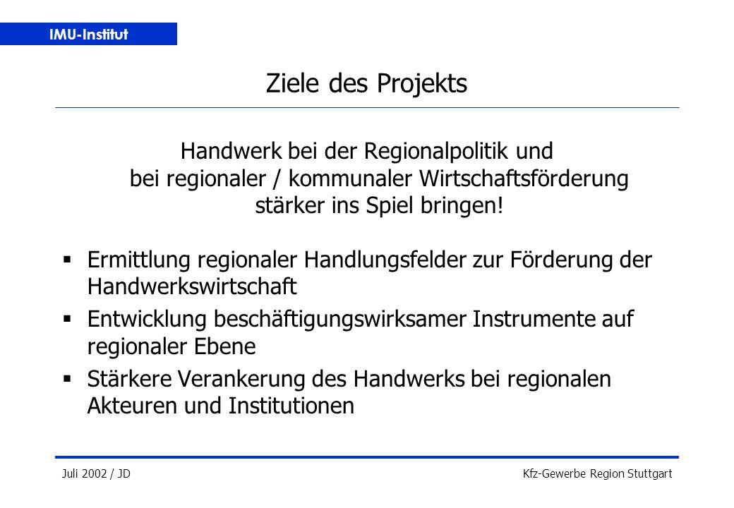IMU-Institut Juli 2002 / JDKfz-Gewerbe Region Stuttgart Ziele des Projekts Handwerk bei der Regionalpolitik und bei regionaler / kommunaler Wirtschaftsförderung stärker ins Spiel bringen.