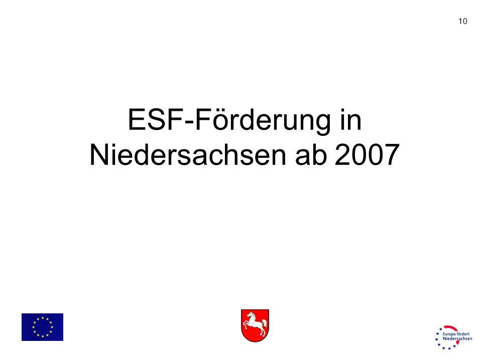 10 ESF-Förderung in Niedersachsen ab 2007