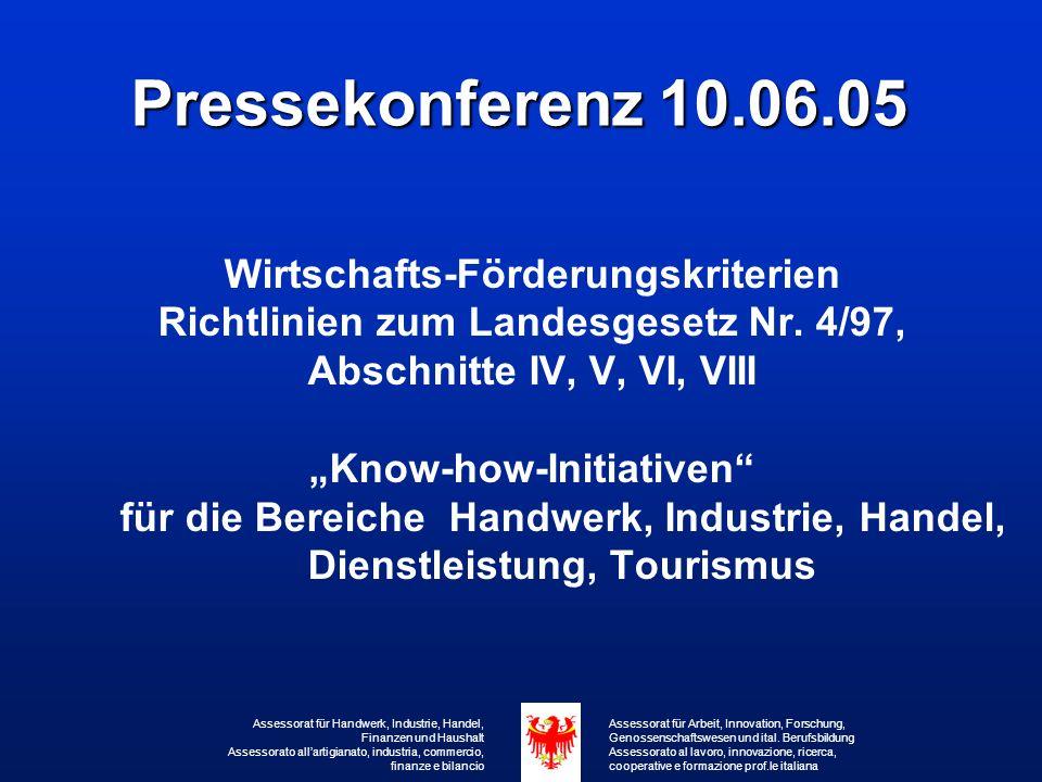 Pressekonferenz 10.06.05 Wirtschafts-Förderungskriterien Richtlinien zum Landesgesetz Nr.