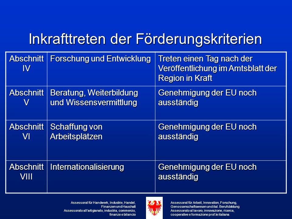 Maßnahmen zur Förderung der Internationalisierung (Abschnitt VIII – LG 4/97) Zuständig: Für die Bereiche Handel und Dienstleistungen, Handwerk, Industrie und Gastgewerbe das jeweilige Amt  Ausgaben für Studien, Untersuchungen und Beratungen zur Erlangung von Informationen über Märkte und deren Erschließung innerhalb und außerhalb des europäischen Binnenmarktes: - bis zu 70% für KMU u.