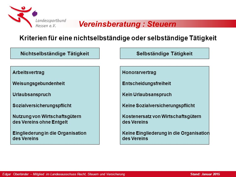 Vereinsberatung : Steuern Merkblatt zum Verein als Arbeitgeber 1.