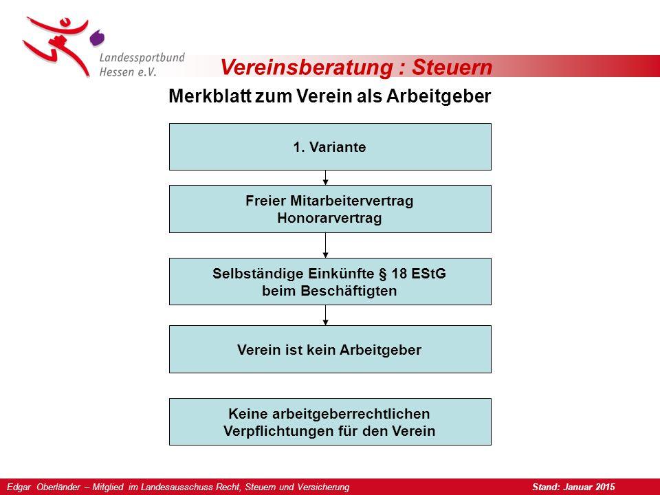 Vereinsberatung : Steuern Merkblatt zum Verein als Arbeitgeber 2.