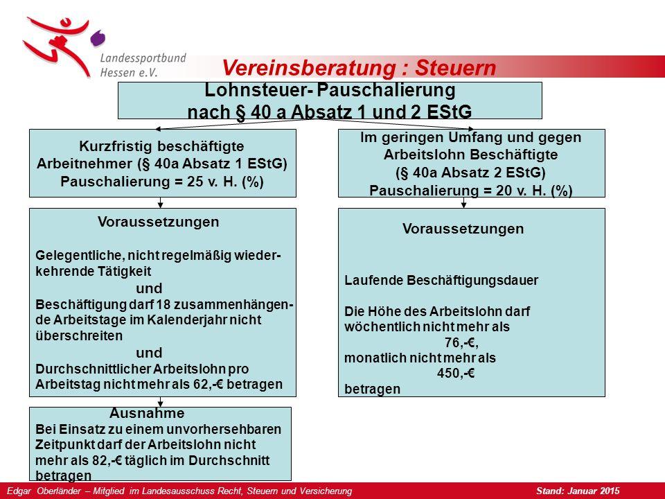 Vereinsberatung : Steuern Lohnsteuer- Pauschalierung nach § 40 a Absatz 1 und 2 EStG Kurzfristig beschäftigte Arbeitnehmer (§ 40a Absatz 1 EStG) Pauschalierung = 25 v.