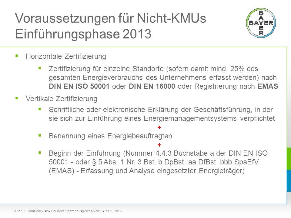 Voraussetzungen für Nicht-KMUs Einführungsphase 2013  Horizontale Zertifizierung  Zertifizierung für einzelne Standorte (sofern damit mind.