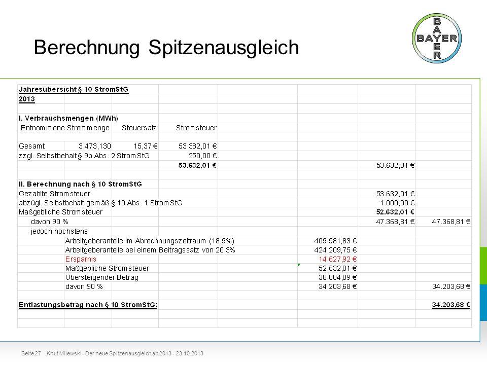 Berechnung Spitzenausgleich Seite 27Knut Milewski - Der neue Spitzenausgleich ab 2013 - 23.10.2013