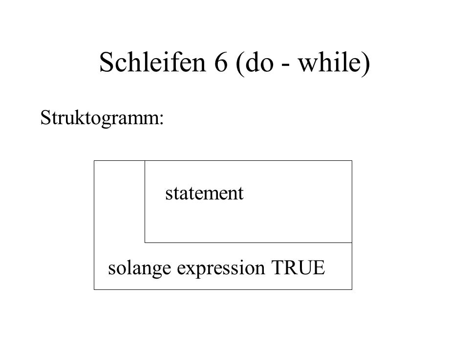 Schleifen 6 (do - while) Struktogramm: statement solange expression TRUE