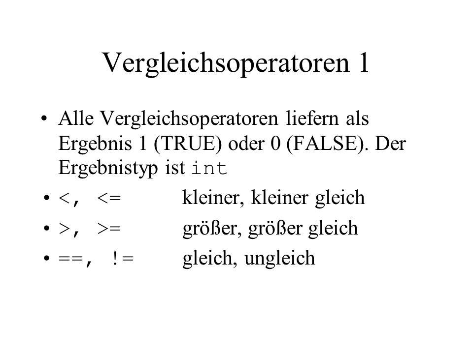 Vergleichsoperatoren 1 Alle Vergleichsoperatoren liefern als Ergebnis 1 (TRUE) oder 0 (FALSE). Der Ergebnistyp ist int <, <= kleiner, kleiner gleich >