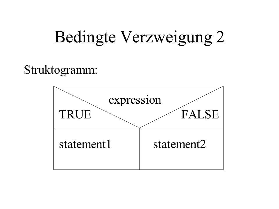 Bedingte Verzweigung 2 Struktogramm: expression TRUE FALSE statement1 statement2