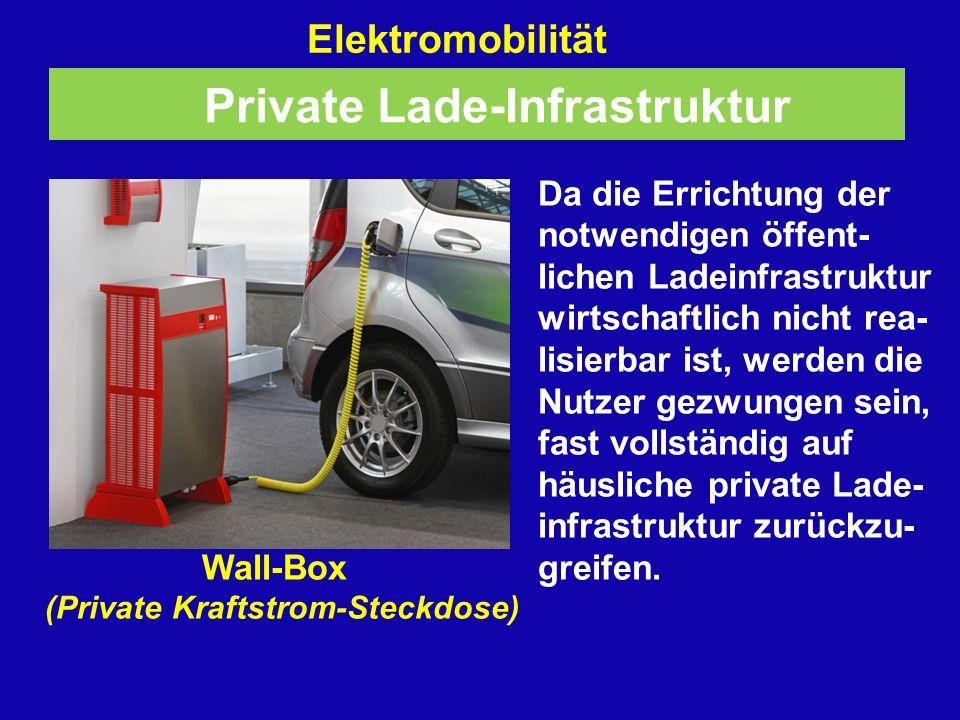 Elektromobilität Da die Errichtung der notwendigen öffent- lichen Ladeinfrastruktur wirtschaftlich nicht rea- lisierbar ist, werden die Nutzer gezwungen sein, fast vollständig auf häusliche private Lade- infrastruktur zurückzu- Wall-Box greifen.