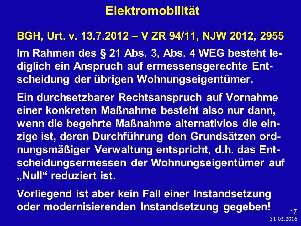 31.05.2016 17 Elektromobilität BGH, Urt. v.