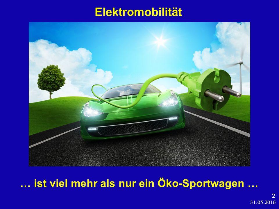 31.05.2016 2 Elektromobilität … ist viel mehr als nur ein Öko-Sportwagen …