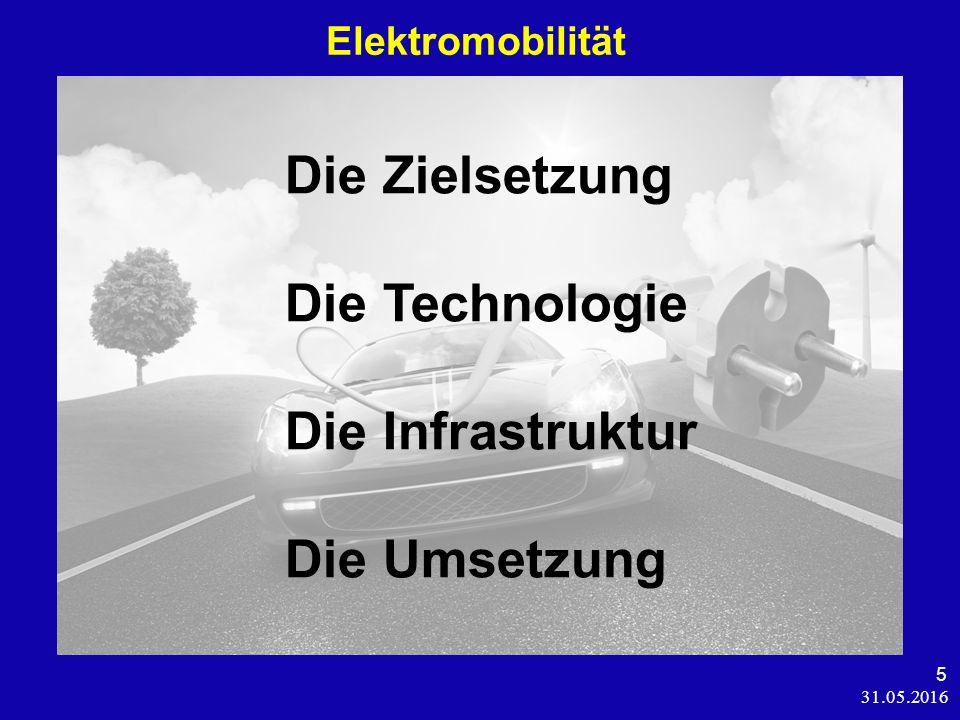 31.05.2016 5 Elektromobilität Die Zielsetzung Die Technologie Die Infrastruktur Die Umsetzung