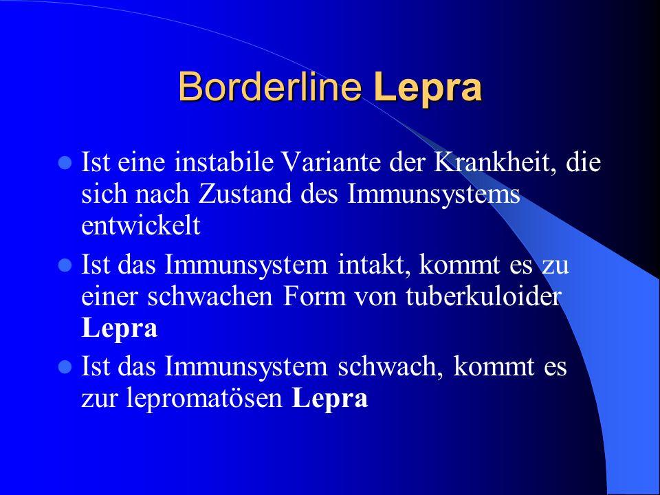 Borderline Lepra Ist eine instabile Variante der Krankheit, die sich nach Zustand des Immunsystems entwickelt Ist das Immunsystem intakt, kommt es zu