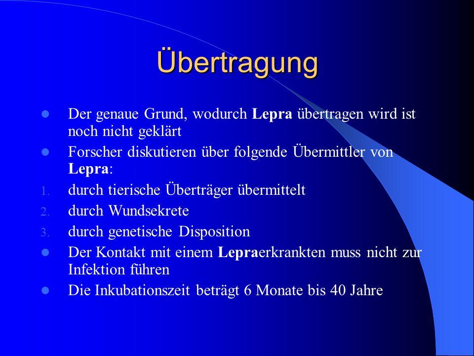 Übertragung Der genaue Grund, wodurch Lepra übertragen wird ist noch nicht geklärt Forscher diskutieren über folgende Übermittler von Lepra: 1. durch