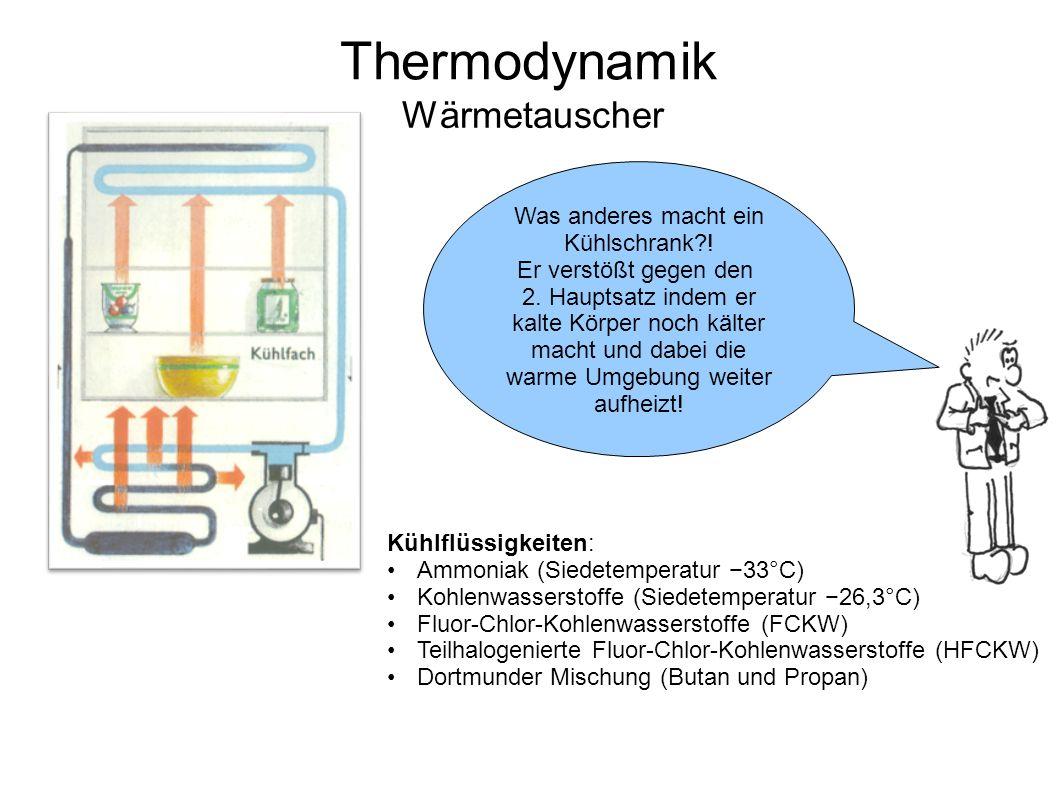 Thermodynamik Wärmetauscher Was anderes macht ein Kühlschrank?! Er verstößt gegen den 2. Hauptsatz indem er kalte Körper noch kälter macht und dabei d
