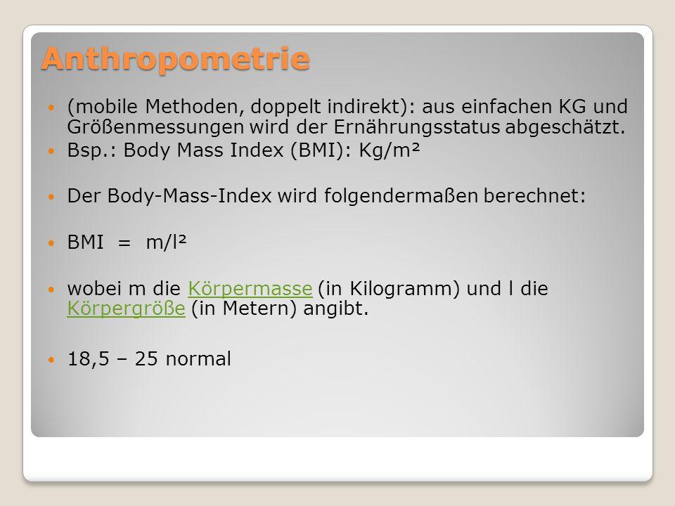 EinteilungBMI (kg/m²) Untergewicht<18,5 Normalbereich18,5-24,9 Übergewicht25,0-29,9 Adipositas≥30,0 Klasse I30,0-34,9 Klasse II35,0-39,9 Klasse III≥40,0 Body Mass Index