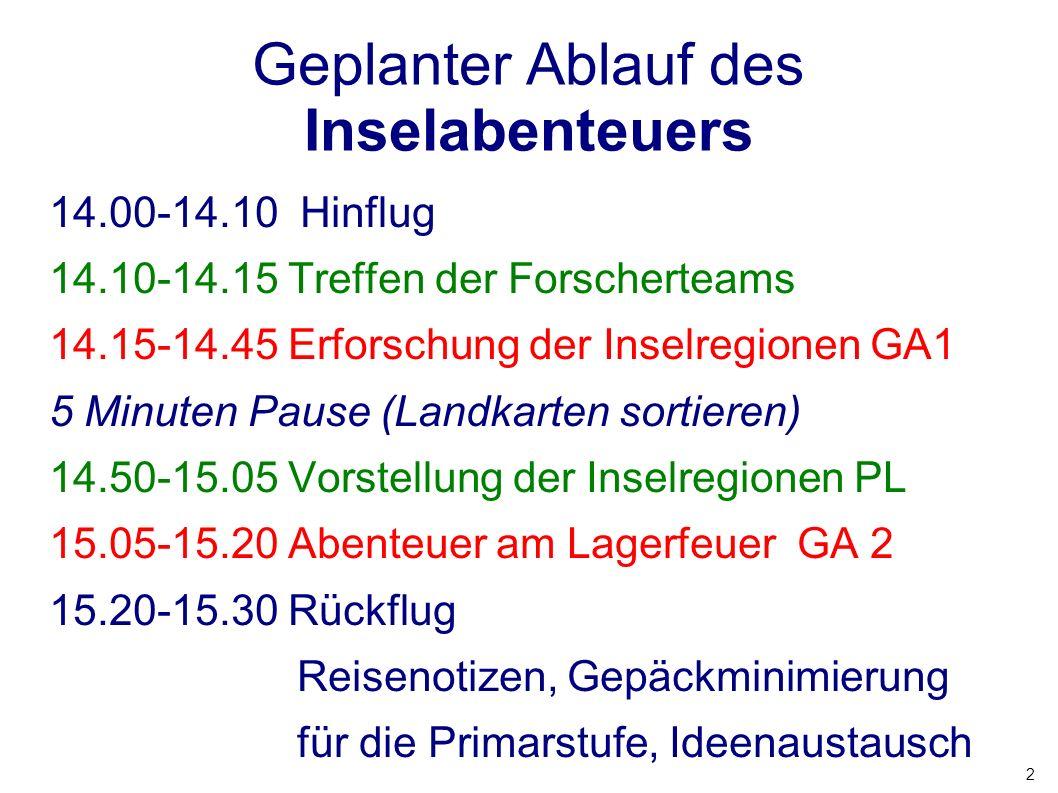 2 Geplanter Ablauf des Inselabenteuers 14.00-14.10 Hinflug 14.10-14.15 Treffen der Forscherteams 14.15-14.45 Erforschung der Inselregionen GA1 5 Minut
