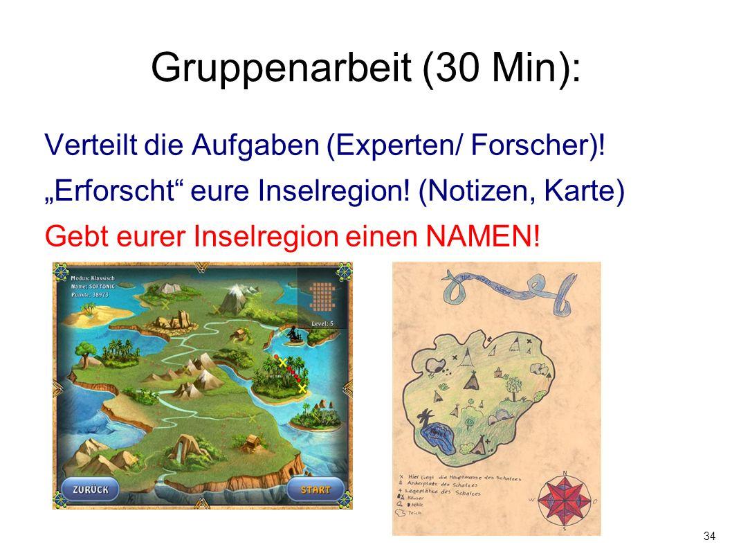 """34 Gruppenarbeit (30 Min): Verteilt die Aufgaben (Experten/ Forscher)! """"Erforscht"""" eure Inselregion! (Notizen, Karte) Gebt eurer Inselregion einen NA"""