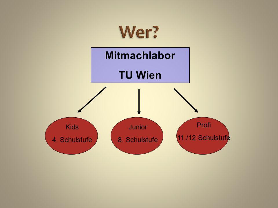 Wer? Mitmachlabor TU Wien Kids 4. Schulstufe Junior 8. Schulstufe Profi 11./12 Schulstufe