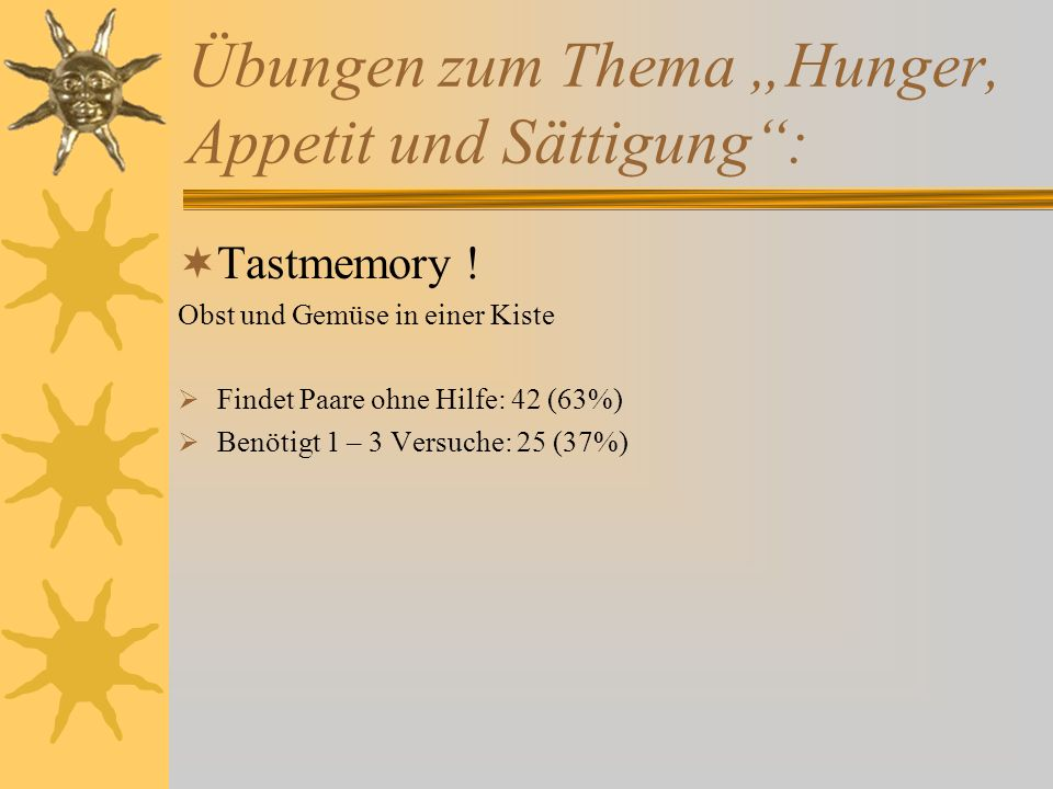 """Übungen zum Thema """"Hunger, Appetit und Sättigung :  Tastmemory ."""