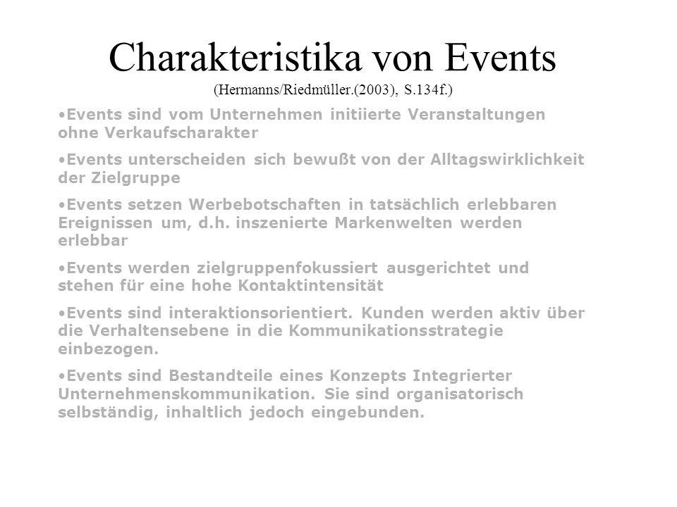 Charakteristika von Events (Hermanns/Riedmüller.(2003), S.134f.) Events sind vom Unternehmen initiierte Veranstaltungen ohne Verkaufscharakter Events