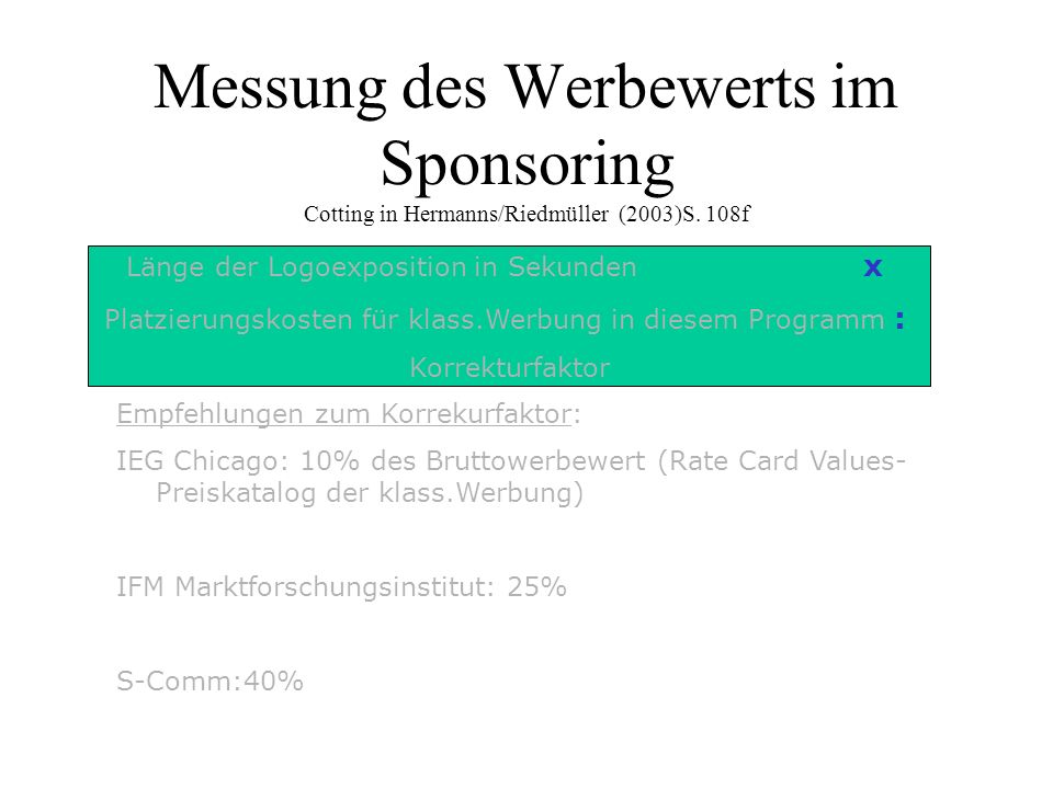 Messung des Werbewerts im Sponsoring Cotting in Hermanns/Riedmüller (2003)S. 108f Empfehlungen zum Korrekurfaktor: IEG Chicago: 10% des Bruttowerbewer