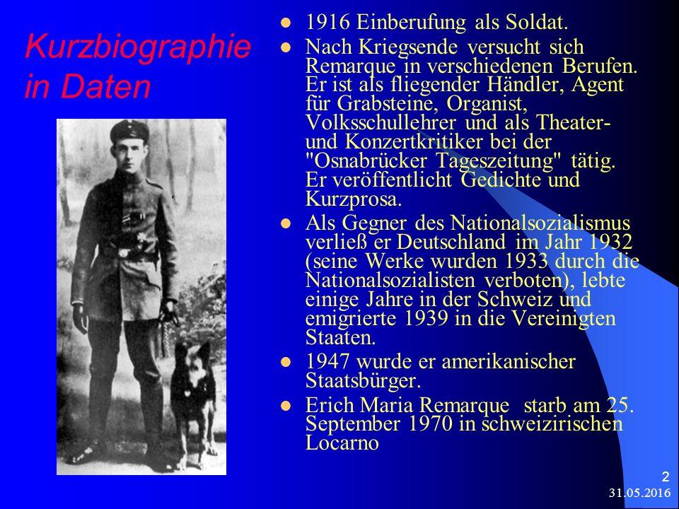31.05.2016 2 Kurzbiographie in Daten 1916 Einberufung als Soldat.